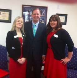 HCAF Board Member Lee Dobson and Nicole Walters, both of BAYADA Home Health Care meet with Sen. Wilton Simpson (R-Trilby).